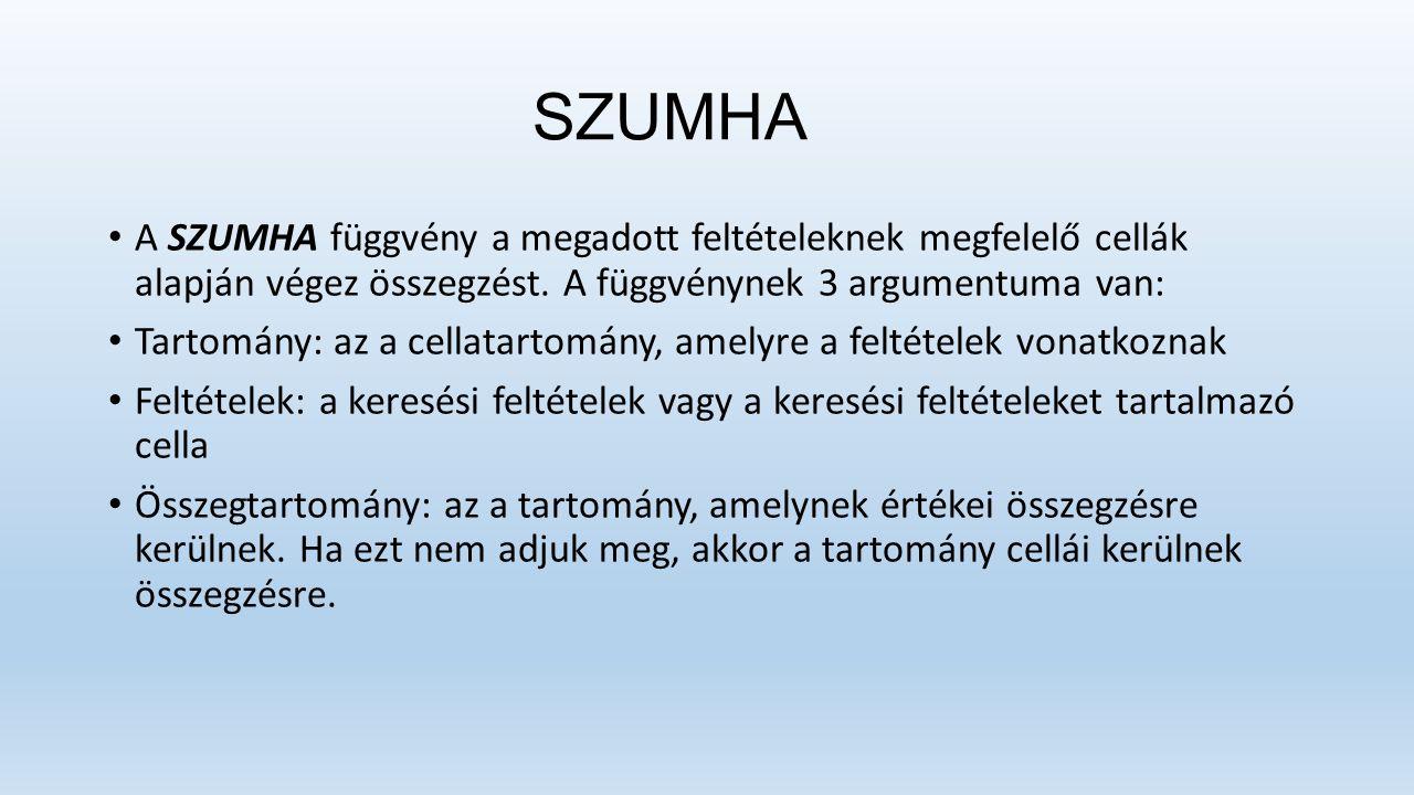SZUMHA A SZUMHA függvény a megadott feltételeknek megfelelő cellák alapján végez összegzést.