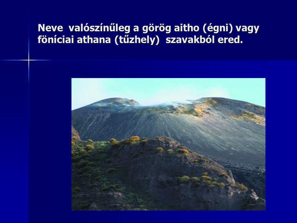 Neve valószínűleg a görög aitho (égni) vagy föníciai athana (tűzhely) szavakból ered.