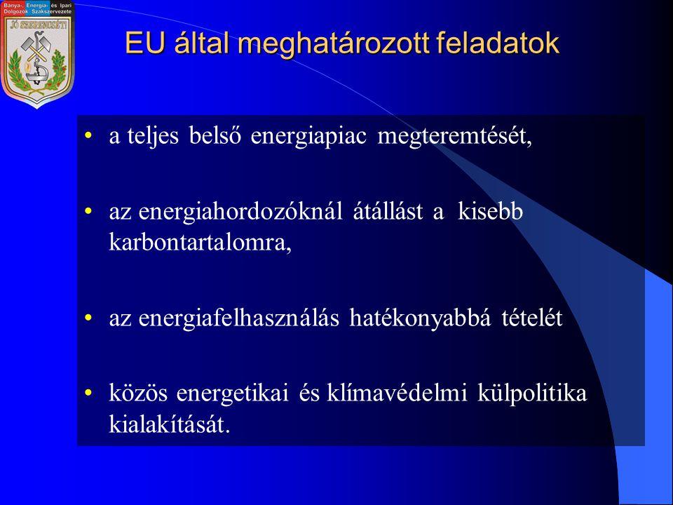 EU által meghatározott feladatok a teljes belső energiapiac megteremtését, az energiahordozóknál átállást a kisebb karbontartalomra, az energiafelhasználás hatékonyabbá tételét közös energetikai és klímavédelmi külpolitika kialakítását.