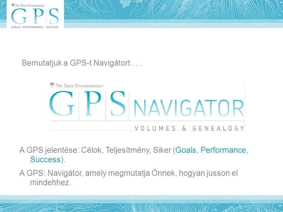 Bemutatjuk a GPS-t Navigátort... A GPS jelentése: Célok, Teljesítmény, Siker (Goals, Performance, Success). A GPS: Navigátor, amely megmutatja Önnek,