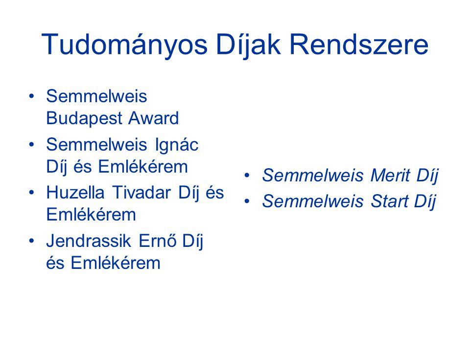 Tudományos Díjak Rendszere Semmelweis Budapest Award Semmelweis Ignác Díj és Emlékérem Huzella Tivadar Díj és Emlékérem Jendrassik Ernő Díj és Emlékérem Semmelweis Merit Díj Semmelweis Start Díj