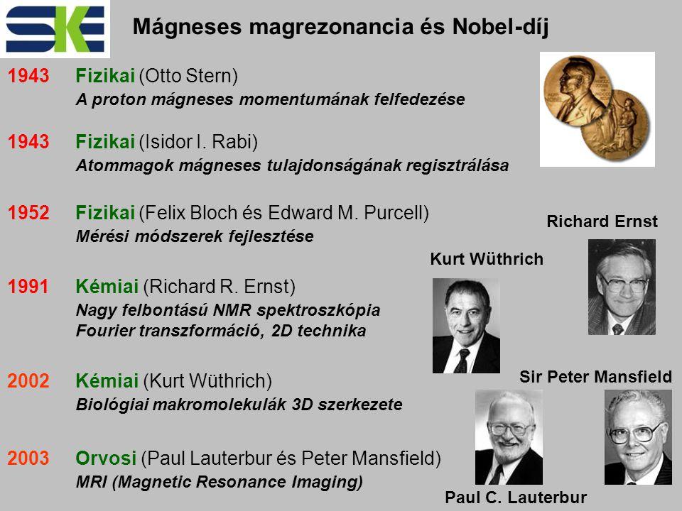 1952Fizikai (Felix Bloch és Edward M. Purcell) Mérési módszerek fejlesztése 1991Kémiai (Richard R.
