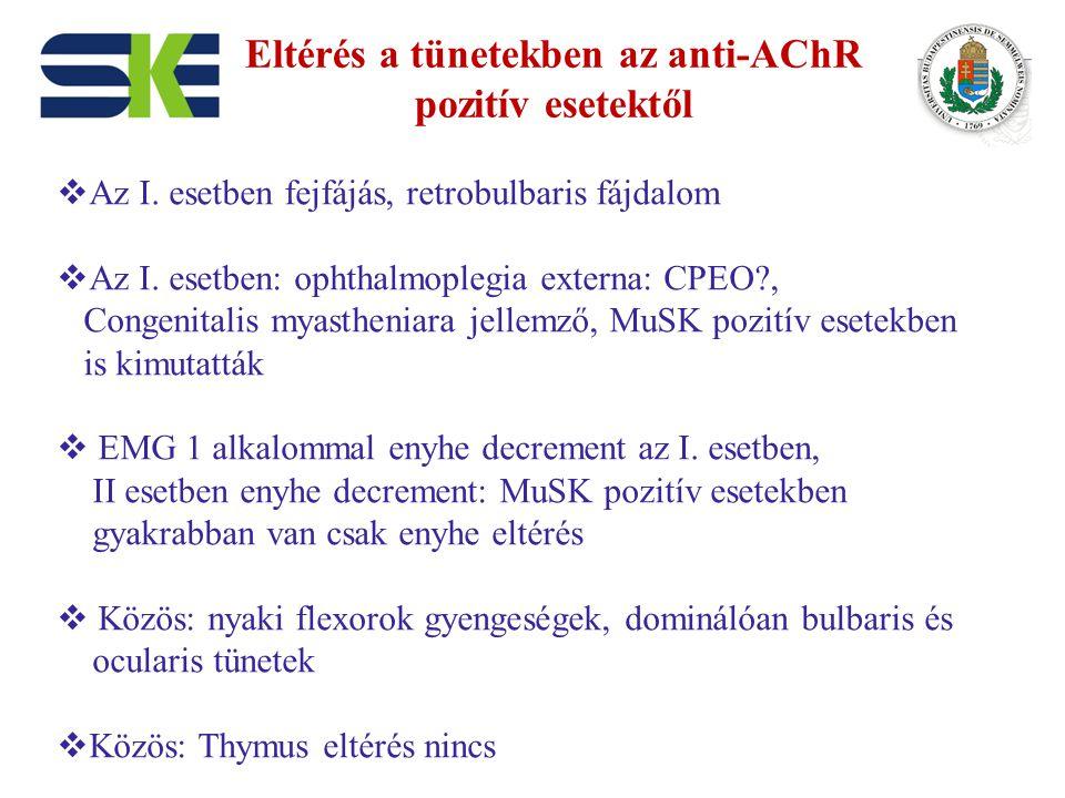 Eltérés a tünetekben az anti-AChR pozitív esetektől  Az I. esetben fejfájás, retrobulbaris fájdalom  Az I. esetben: ophthalmoplegia externa: CPEO?,