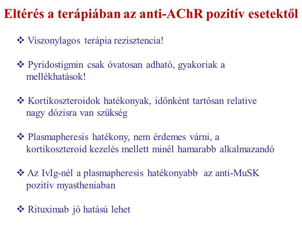 Eltérés a terápiában az anti-AChR pozitív esetektől  Viszonylagos terápia rezisztencia!  Pyridostigmin csak óvatosan adható, gyakoriak a mellékhatás