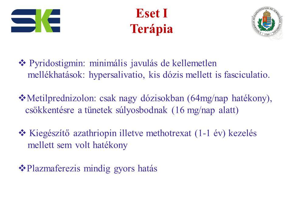 Eset I Terápia  Pyridostigmin: minimális javulás de kellemetlen mellékhatások: hypersalivatio, kis dózis mellett is fasciculatio.  Metilprednizolon: