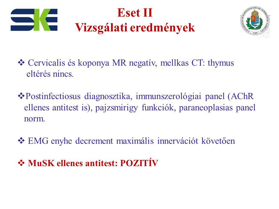 Eset II Vizsgálati eredmények  Cervicalis és koponya MR negatív, mellkas CT: thymus eltérés nincs.  Postinfectiosus diagnosztika, immunszerológiai p