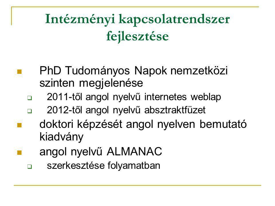 Intézményi kapcsolatrendszer fejlesztése PhD Tudományos Napok nemzetközi szinten megjelenése  2011-től angol nyelvű internetes weblap  2012-től angol nyelvű absztraktfüzet doktori képzését angol nyelven bemutató kiadvány angol nyelvű ALMANAC  szerkesztése folyamatban