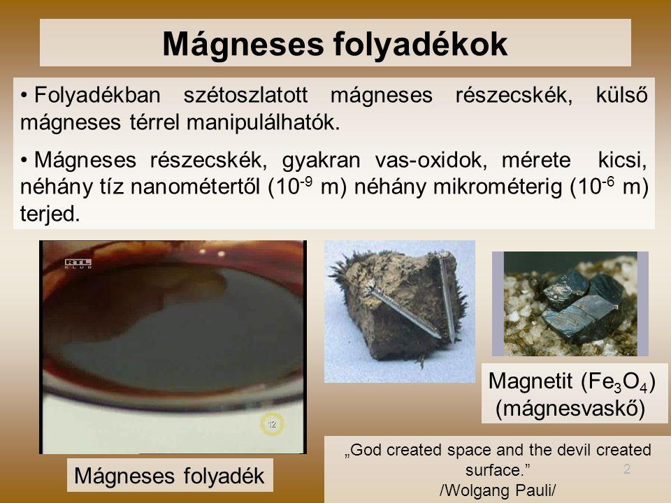2 Folyadékban szétoszlatott mágneses részecskék, külső mágneses térrel manipulálhatók. Mágneses részecskék, gyakran vas-oxidok, mérete kicsi, néhány t