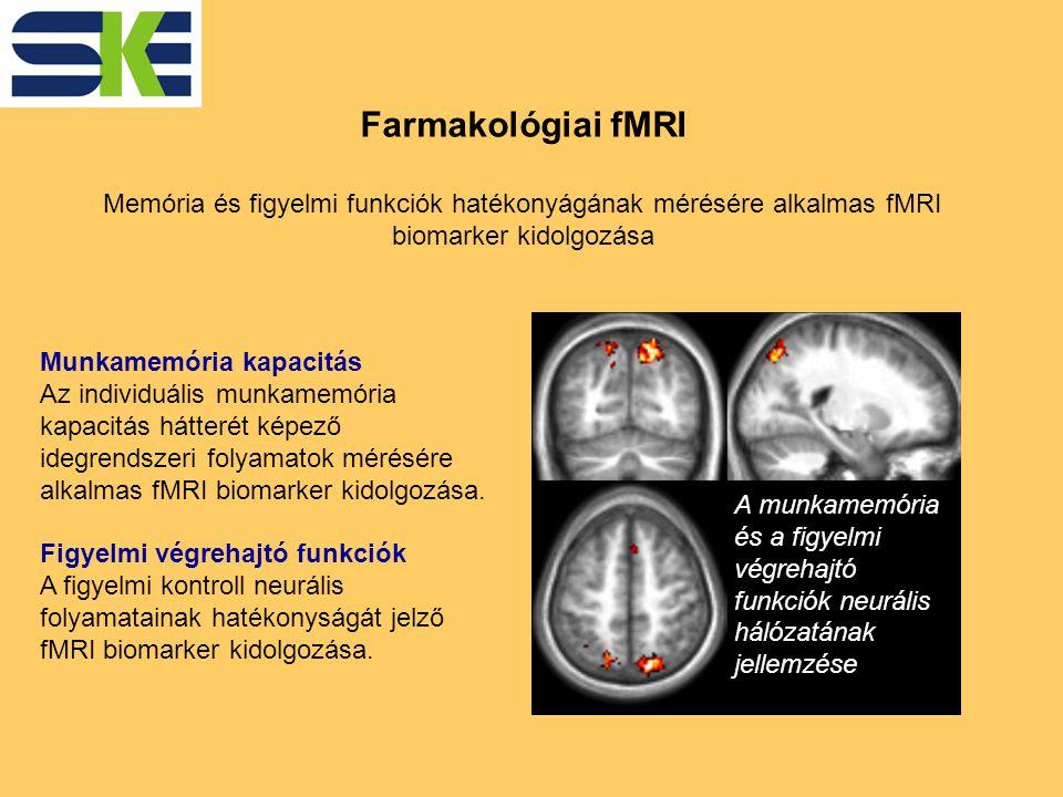 Farmakológiai fMRI Memória és figyelmi funkciók hatékonyágának mérésére alkalmas fMRI biomarker kidolgozása A munkamemória és a figyelmi végrehajtó funkciók neurális hálózatának jellemzése Munkamemória kapacitás Az individuális munkamemória kapacitás hátterét képező idegrendszeri folyamatok mérésére alkalmas fMRI biomarker kidolgozása.