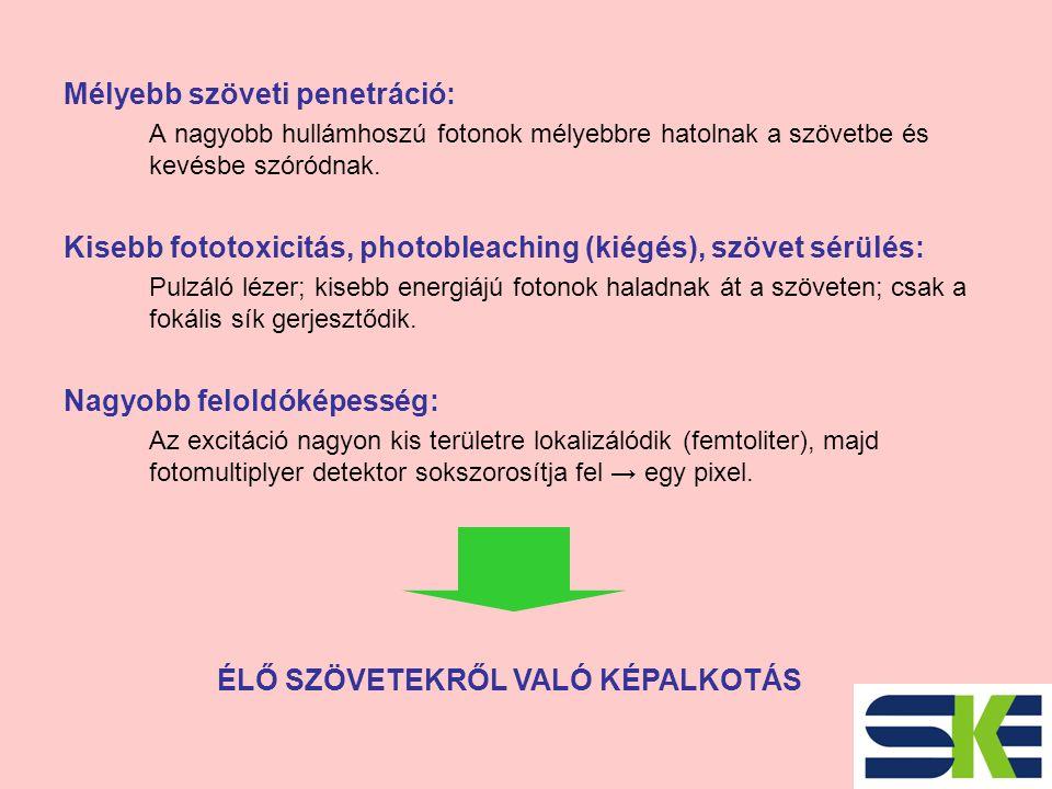 Mélyebb szöveti penetráció: A nagyobb hullámhoszú fotonok mélyebbre hatolnak a szövetbe és kevésbe szóródnak.