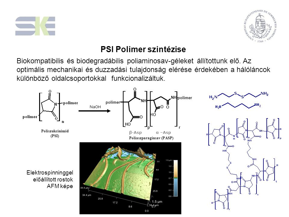 NaOH p NH O O OH NH O O OH polimer r β-Aspα –Asp Poliszukcinimid (PSI) Poliaszparaginsav (PASP) Biokompatibilis és biodegradábilis poliaminosav-géleke