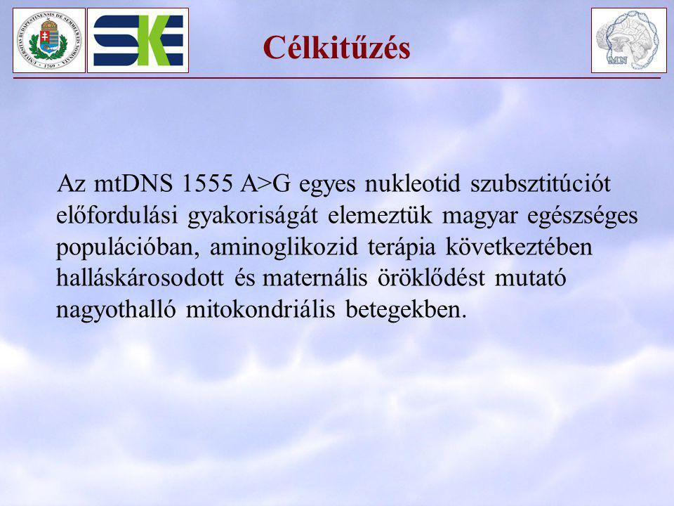 Célkitűzés Az mtDNS 1555 A>G egyes nukleotid szubsztitúciót előfordulási gyakoriságát elemeztük magyar egészséges populációban, aminoglikozid terápia
