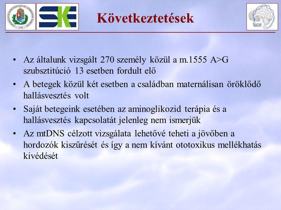 Következtetések Az általunk vizsgált 270 személy közül a m.1555 A>G szubsztitúció 13 esetben fordult elő A betegek közül két esetben a családban mater