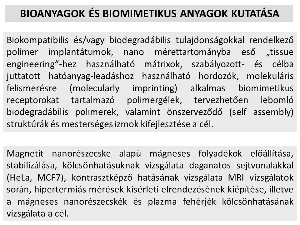 BIOANYAGOK ÉS BIOMIMETIKUS ANYAGOK KUTATÁSA Biokompatibilis és/vagy biodegradábilis tulajdonságokkal rendelkező polimer implantátumok, nano mérettarto