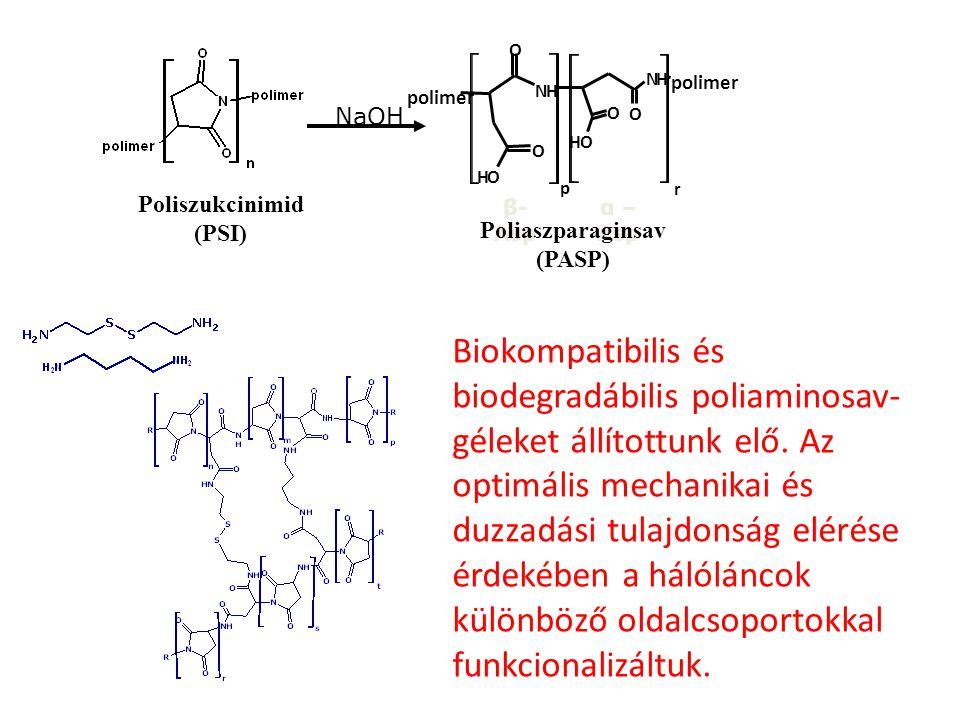 NaOH p NH O O OH NH O O OH polimer r β- Asp α – Asp Poliszukcinimid (PSI) Poliaszparaginsav (PASP) Biokompatibilis és biodegradábilis poliaminosav- gé
