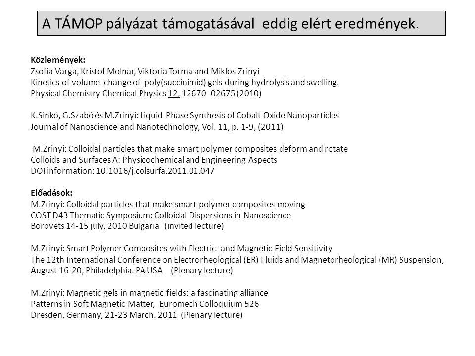 A TÁMOP pályázat támogatásával eddig elért eredmények. Közlemények: Zsofia Varga, Kristof Molnar, Viktoria Torma and Miklos Zrinyi Kinetics of volume