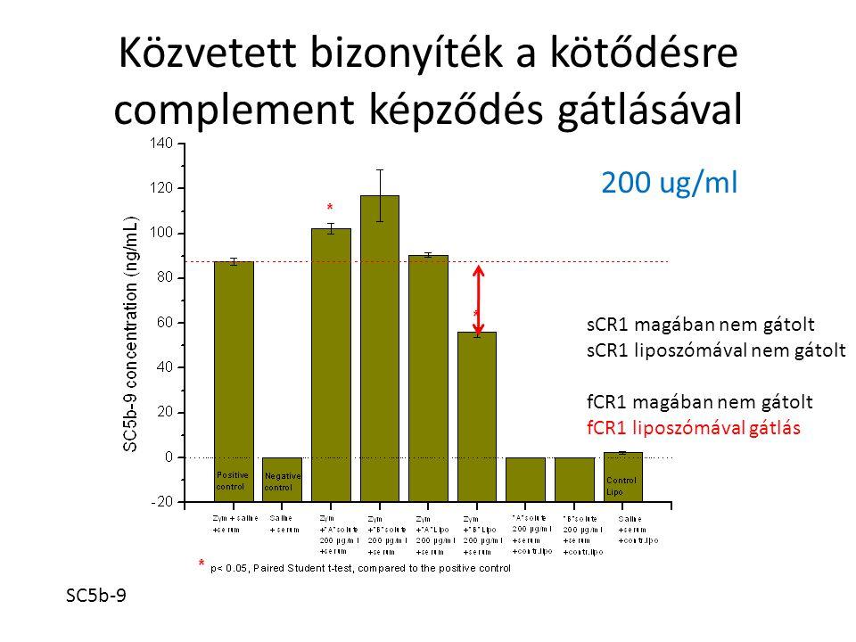 Közvetett bizonyíték a kötődésre complement képződés gátlásával SC5b-9 200 ug/ml sCR1 magában nem gátolt sCR1 liposzómával nem gátolt fCR1 magában nem gátolt fCR1 liposzómával gátlás