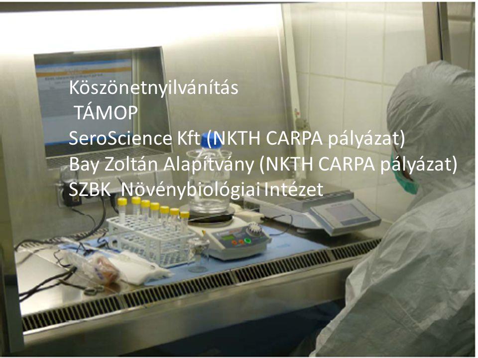 Köszönetnyilvánítás TÁMOP SeroScience Kft (NKTH CARPA pályázat) Bay Zoltán Alapítvány (NKTH CARPA pályázat) SZBK Növénybiológiai Intézet