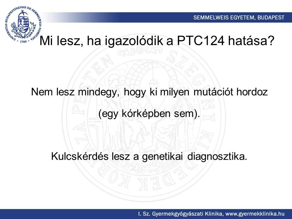 Mi lesz, ha igazolódik a PTC124 hatása? Nem lesz mindegy, hogy ki milyen mutációt hordoz (egy kórképben sem). Kulcskérdés lesz a genetikai diagnosztik