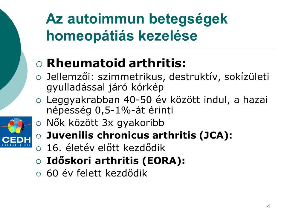 4 Az autoimmun betegségek homeopátiás kezelése  Rheumatoid arthritis:  Jellemzői: szimmetrikus, destruktív, sokízületi gyulladással járó kórkép  Le