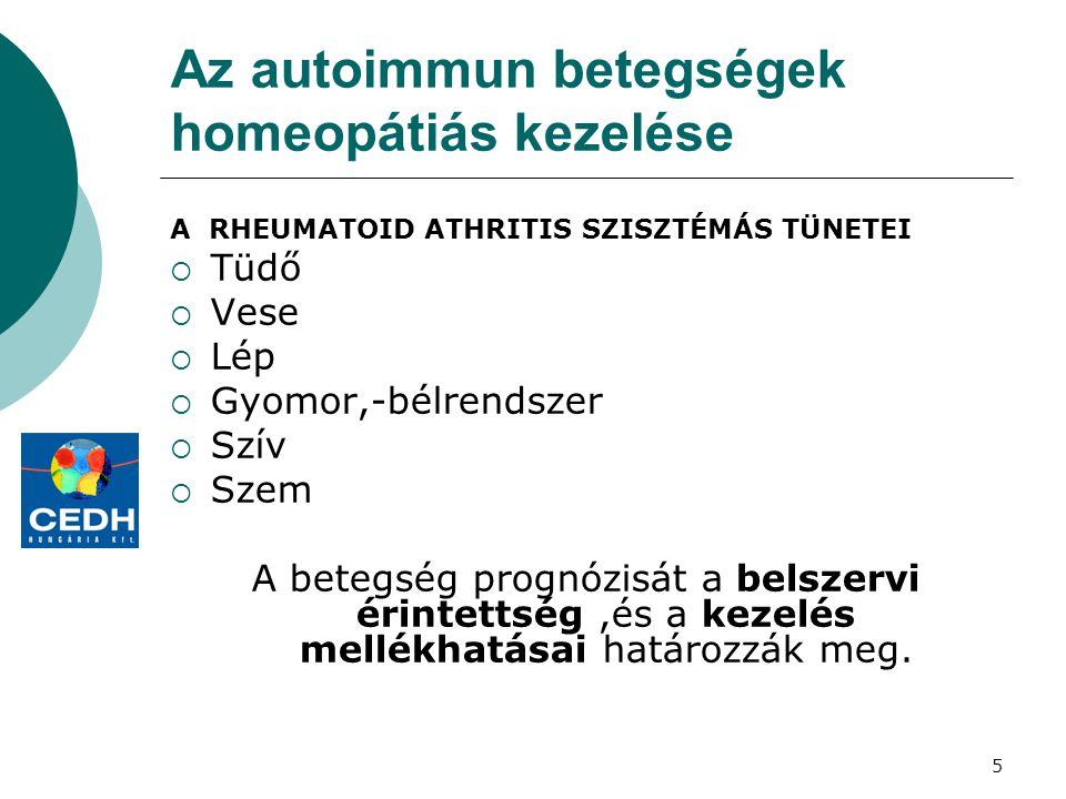 5 Az autoimmun betegségek homeopátiás kezelése A RHEUMATOID ATHRITIS SZISZTÉMÁS TÜNETEI  Tüdő  Vese  Lép  Gyomor,-bélrendszer  Szív  Szem A bete