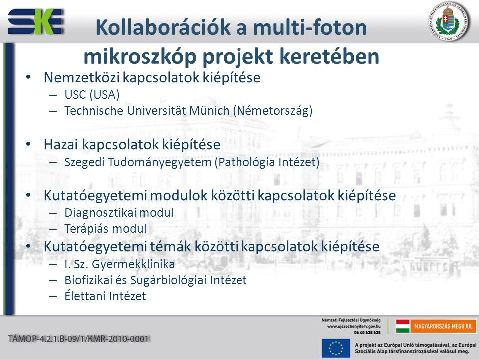 Kollaborációk a multi-foton mikroszkóp projekt keretében Nemzetközi kapcsolatok kiépítése – USC (USA) – Technische Universität Münich (Németország) Ha
