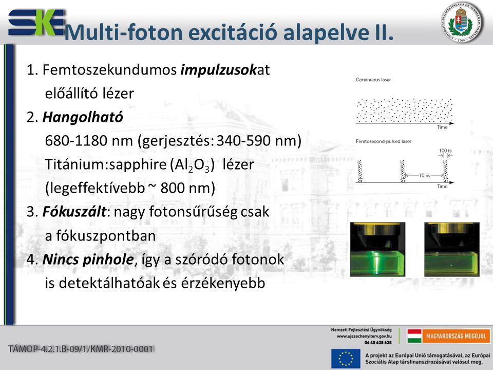 1. Femtoszekundumos impulzusokat előállító lézer 2. Hangolható 680-1180 nm (gerjesztés: 340-590 nm) Titánium:sapphire (Al 2 O 3 ) lézer (legeffektíveb