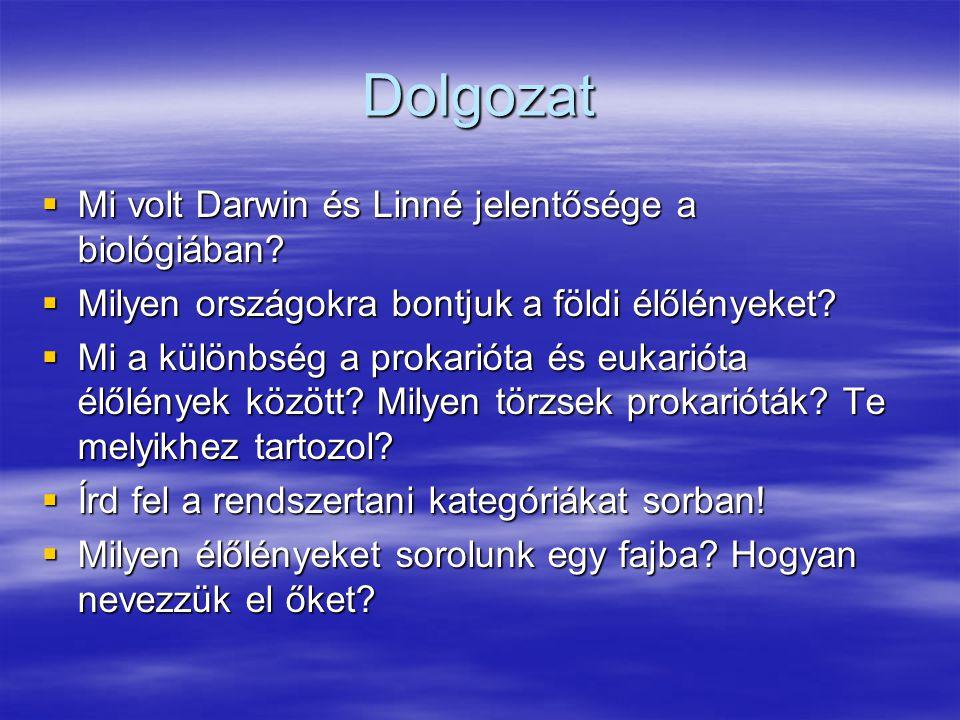 Dolgozat  Mi volt Darwin és Linné jelentősége a biológiában?  Milyen országokra bontjuk a földi élőlényeket?  Mi a különbség a prokarióta és eukari