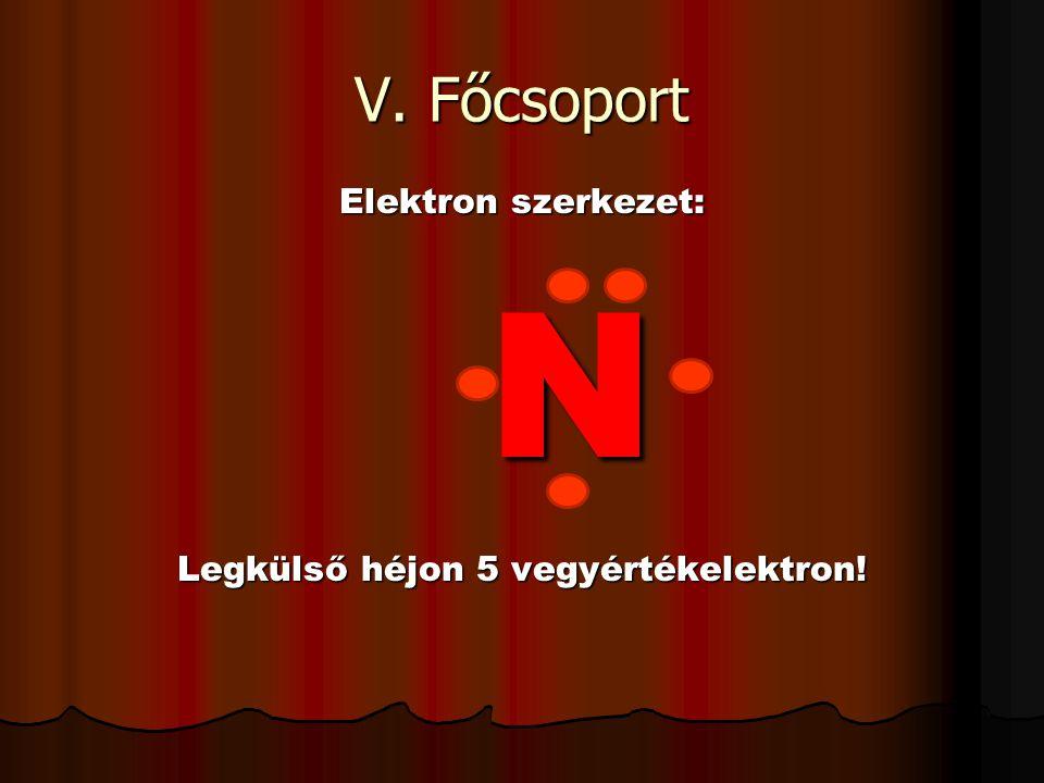 V. Főcsoport Elektron szerkezet: N Legkülső héjon 5 vegyértékelektron!