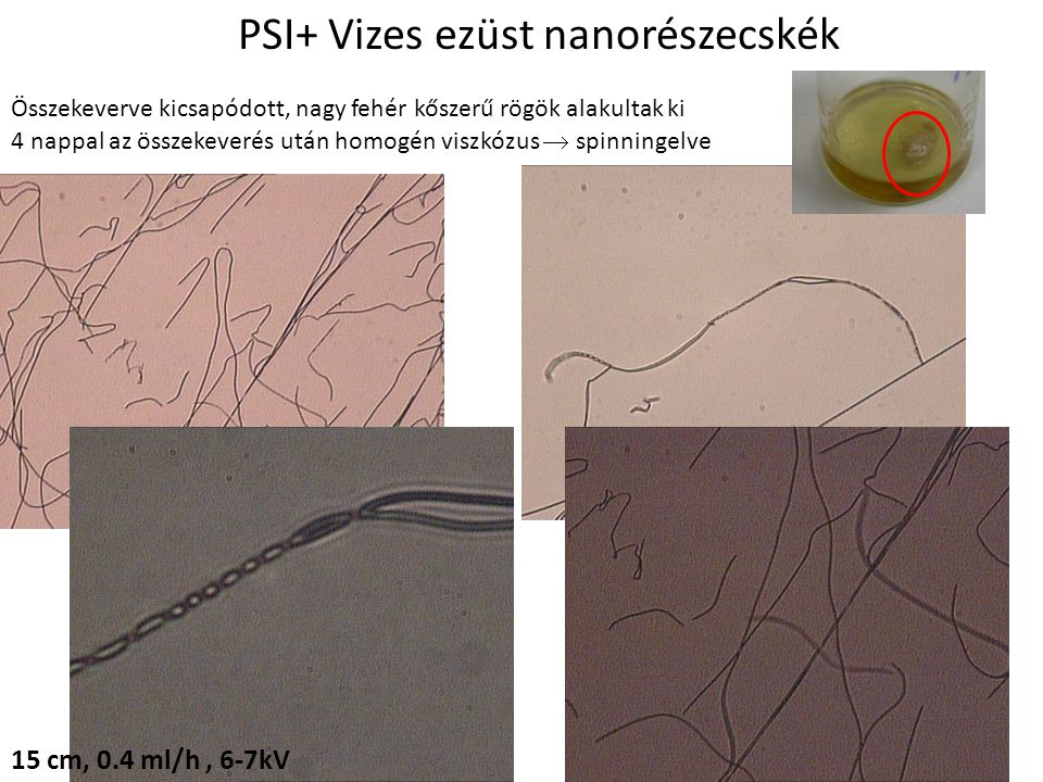 PSI+ Vizes ezüst nanorészecskék Összekeverve kicsapódott, nagy fehér kőszerű rögök alakultak ki 4 nappal az összekeverés után homogén viszkózus  spinningelve 15 cm, 0.4 ml/h, 6-7kV