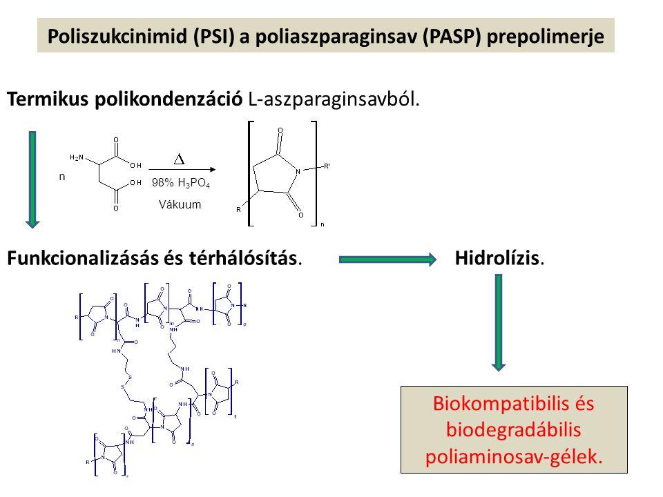 Poliszukcinimid (PSI) a poliaszparaginsav (PASP) prepolimerje Termikus polikondenzáció L-aszparaginsavból.  98% H 3 PO 4 Vákuum n Funkcionalizásás és