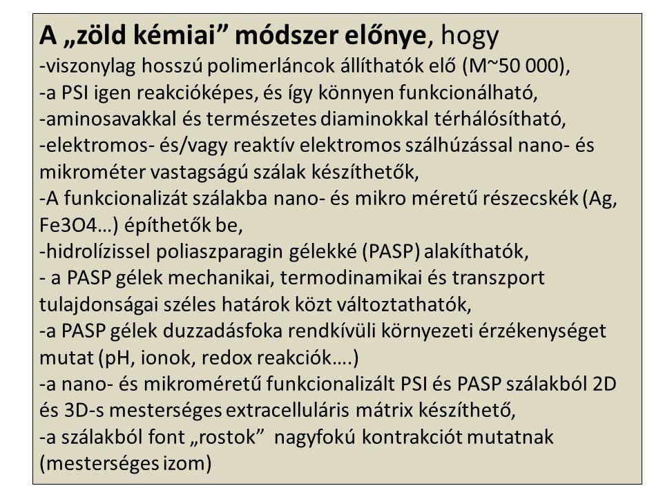 """A """"zöld kémiai"""" módszer előnye, hogy -viszonylag hosszú polimerláncok állíthatók elő (M~50 000), -a PSI igen reakcióképes, és így könnyen funkcionálha"""