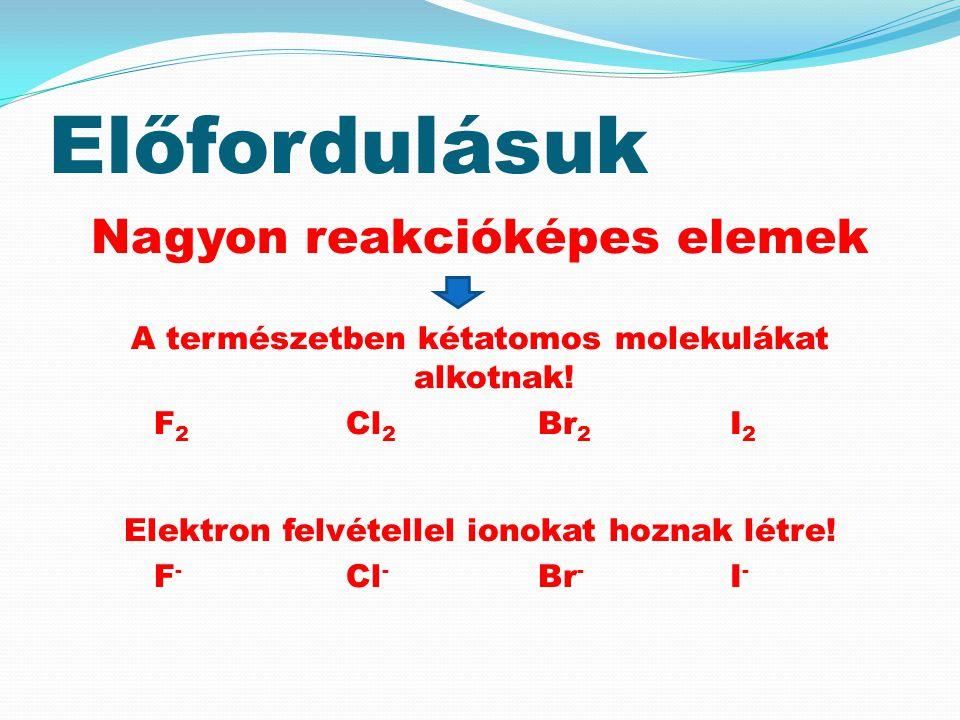 Előfordulásuk Nagyon reakcióképes elemek A természetben kétatomos molekulákat alkotnak! F 2 Cl 2 Br 2 I 2 Elektron felvétellel ionokat hoznak létre! F