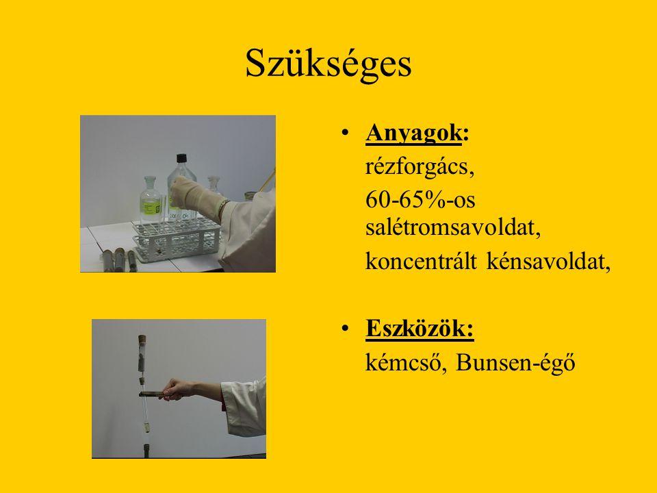 Szükséges Anyagok: rézforgács, 60-65%-os salétromsavoldat, koncentrált kénsavoldat, Eszközök: kémcső, Bunsen-égő