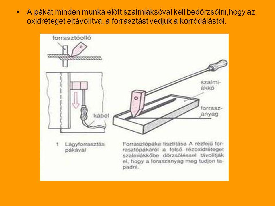 A pákát minden munka előtt szalmiáksóval kell bedörzsölni,hogy az oxidréteget eltávolítva, a forrasztást védjük a korródálástól.