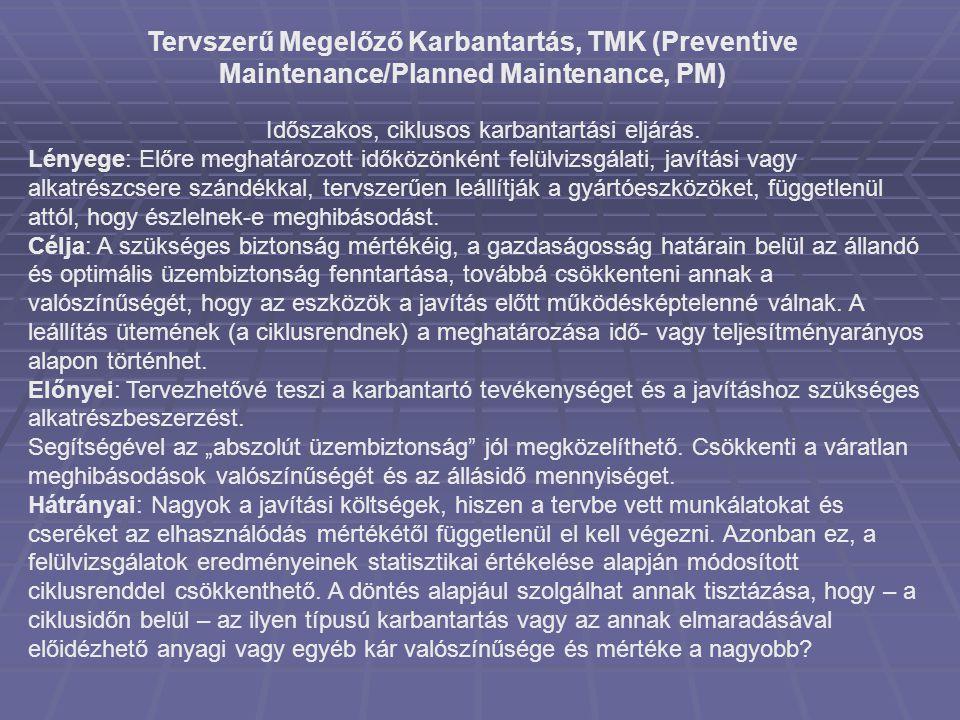 Tervszerű Megelőző Karbantartás, TMK (Preventive Maintenance/Planned Maintenance, PM) Időszakos, ciklusos karbantartási eljárás. Lényege: Előre meghat