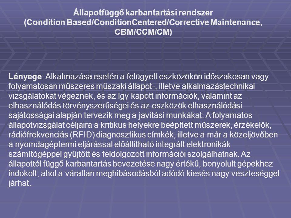 Állapotfüggő karbantartási rendszer (Condition Based/ConditionCentered/Corrective Maintenance, CBM/CCM/CM) Lényege: Alkalmazása esetén a felügyelt esz