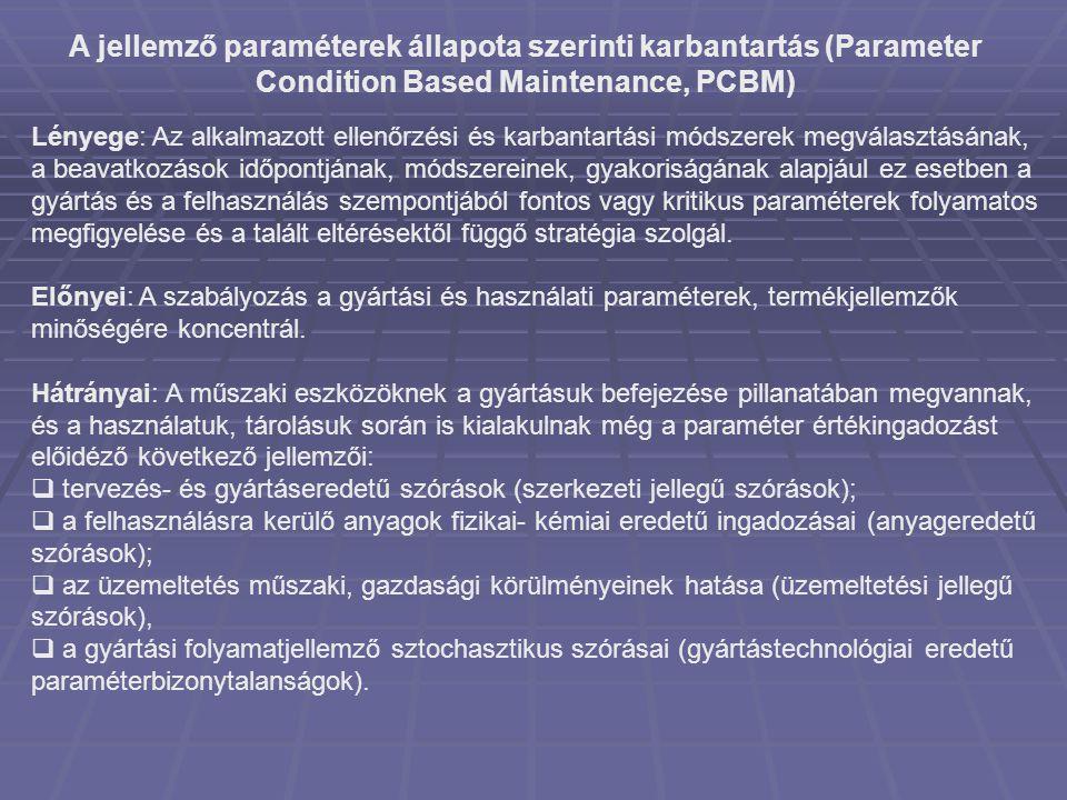 A jellemző paraméterek állapota szerinti karbantartás (Parameter Condition Based Maintenance, PCBM) Lényege: Az alkalmazott ellenőrzési és karbantartá