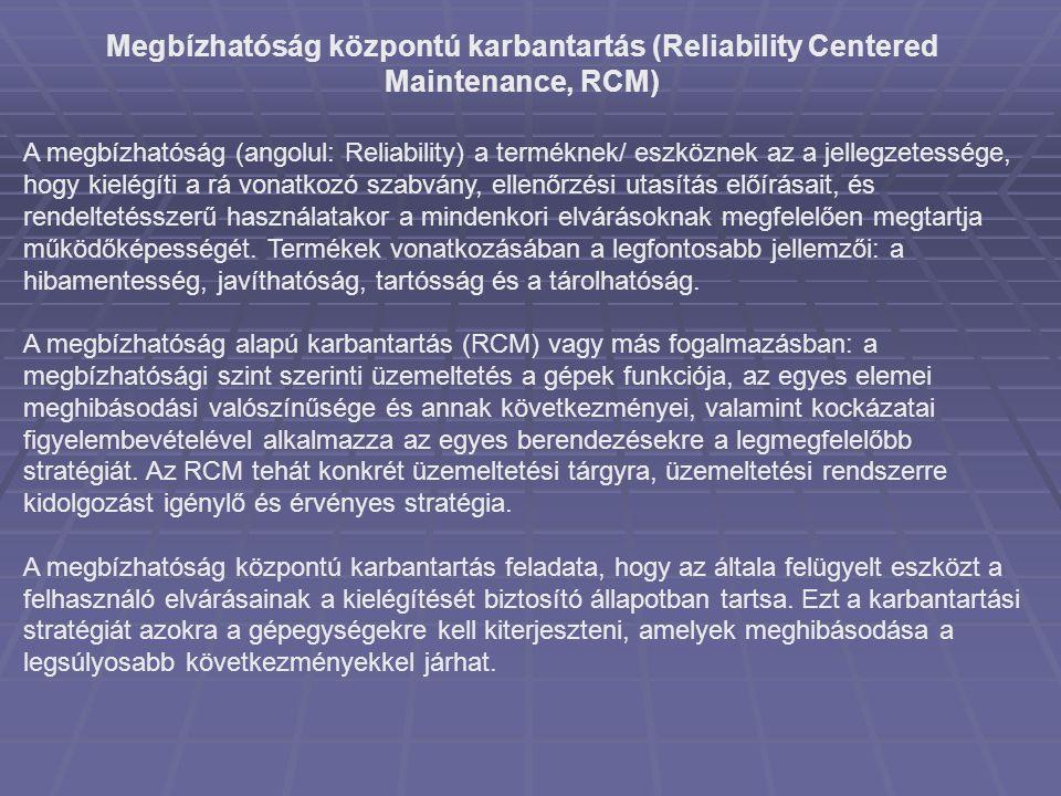 Megbízhatóság központú karbantartás (Reliability Centered Maintenance, RCM) A megbízhatóság (angolul: Reliability) a terméknek/ eszköznek az a jellegz