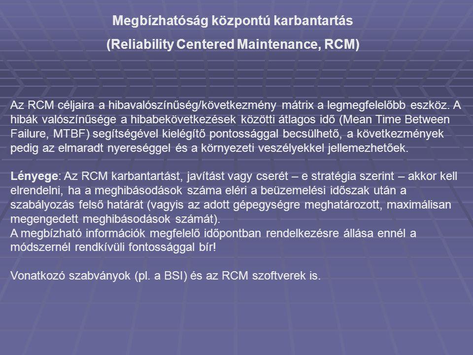 Megbízhatóság központú karbantartás (Reliability Centered Maintenance, RCM) Az RCM céljaira a hibavalószínűség/következmény mátrix a legmegfelelőbb es