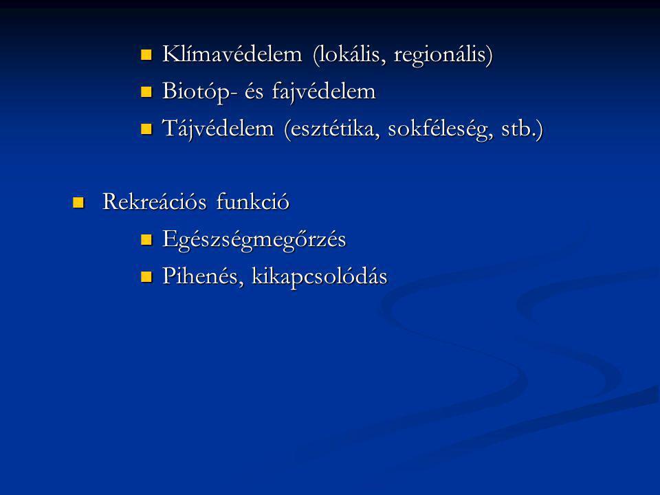 Klímavédelem (lokális, regionális) Klímavédelem (lokális, regionális) Biotóp- és fajvédelem Biotóp- és fajvédelem Tájvédelem (esztétika, sokféleség, s