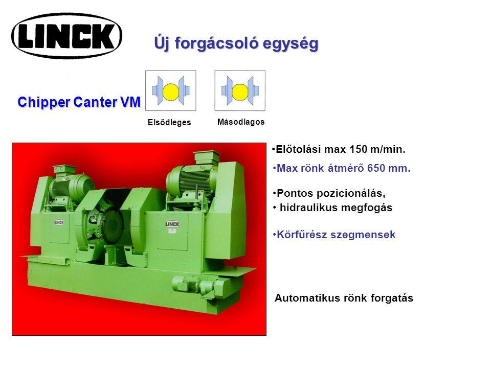 Új forgácsoló egység Max rönk átmérő 650 mm. Automatikus rönk forgatás Körfűrész szegmensek Elsődleges Chipper Canter VM Másodlagos Előtolási max 150