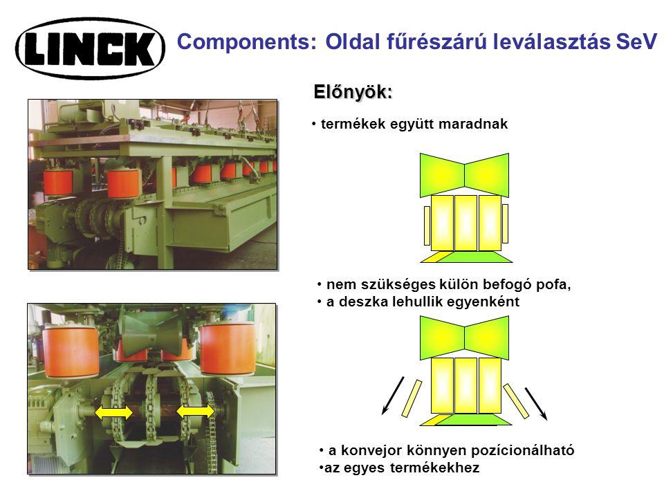 Components: Oldal fűrészárú leválasztás SeV Előnyök: termékek együtt maradnak nem szükséges külön befogó pofa, a deszka lehullik egyenként a konvejor könnyen pozícionálható az egyes termékekhez