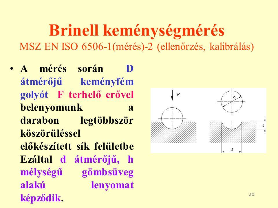 20 Brinell keménységmérés MSZ EN ISO 6506-1(mérés)-2 (ellenőrzés, kalibrálás) A mérés során D átmérőjű keményfém golyót F terhelő erővel belenyomunk a