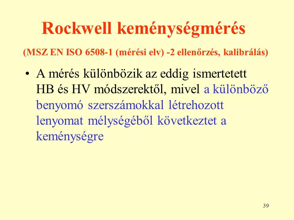 39 Rockwell keménységmérés (MSZ EN ISO 6508-1 (mérési elv) -2 ellenőrzés, kalibrálás) A mérés különbözik az eddig ismertetett HB és HV módszerektől, m