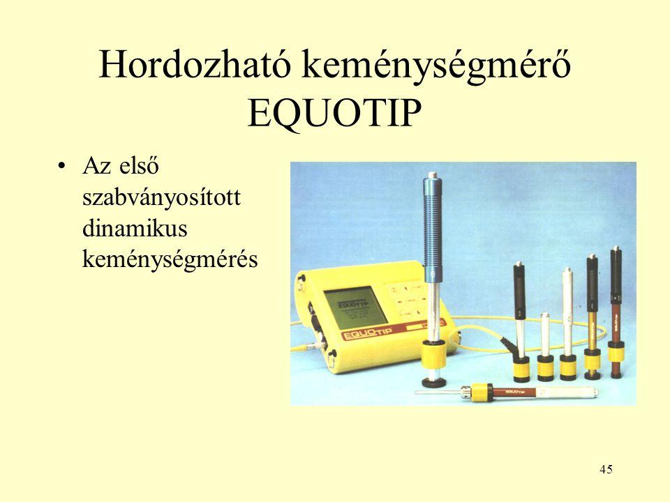 45 Hordozható keménységmérő EQUOTIP Az első szabványosított dinamikus keménységmérés