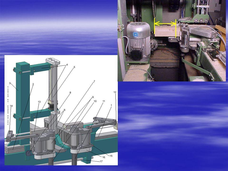 1; Keret alsó eleme 2; Keret függőleges eleme 3; Keret felső eleme 4; Keretet függőlegesen mozgató golyósorsók 5; Keretet tartó pneumatikus munkahengerek 6; Keret vízszintesen mozgató golyósorsó 7; Golyósorsó motorja 8; Láncmaró motorja 9; Marólánc 10; Marólánc olajozásához szükséges olaj tartálya 11; Fúró egység motorja 12; Fúrószárak 13; Maróegység motorja 14; Maróegység szíjhajtása 15; marószerszámok oszlopának forgatására szolgáló szervomotor 16; Marószerszámok tartó zártszelvényét tartó konzol, benne az áttételekkel 17; Marószerszámok tartó zártszelvénye 18; Marószerszámok