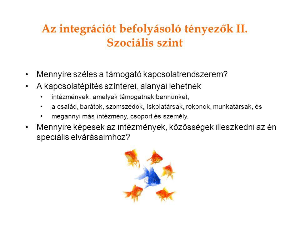 Az integrációt befolyásoló tényezők II. Szociális szint Mennyire széles a támogató kapcsolatrendszerem? A kapcsolatépítés színterei, alanyai lehetnek