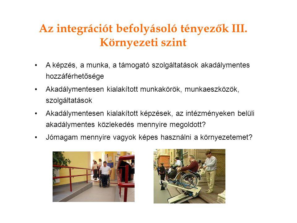 Az integrációt befolyásoló tényezők III. Környezeti szint A képzés, a munka, a támogató szolgáltatások akadálymentes hozzáférhetősége Akadálymentesen