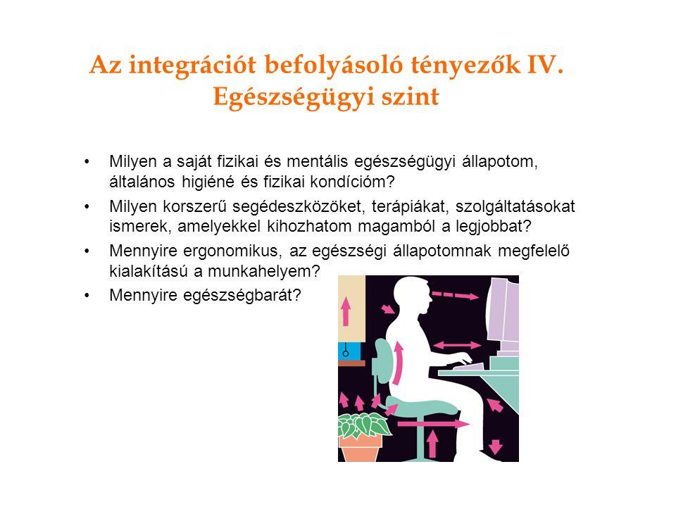 Az integrációt befolyásoló tényezők IV. Egészségügyi szint Milyen a saját fizikai és mentális egészségügyi állapotom, általános higiéné és fizikai kon